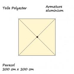 Parasol Lacanau Ecru 200 x 200 cm Alu descriptif