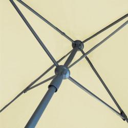 Parasol Lacanau Ecru 200 x 200 cm Alu détail du mecanisme d'ouverture