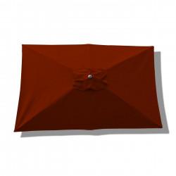 Parasol Lacanau rectangulaire : rectangle 200 x 300 cm Aluminium avec toile couleur Rouge Terracotta : parasol vu de dessus
