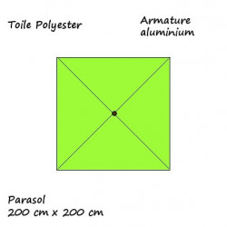 Parasol Lacanau Vert Lime 200 x 200 cm Alu : descriptif
