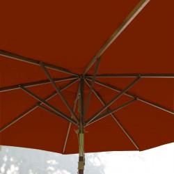 Parasol Lacanau Terracotta 300 cm Bois : système d'ouverture vue de dessous