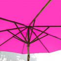 Parasol Lacanau Rose Fushia 300 cm Bois : système d'ouverture vue de dessous