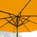 Parasol Lacanau Orange 300 cm Bois : système d'ouverture vue de dessous
