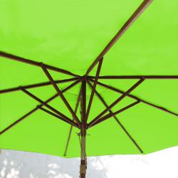 Parasol Lacanau  Vert Lime 300 cm Bois : système d'ouverture vue de dessous