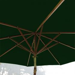 Parasol Lacanau Vert Pinède 300 cm Bois : système d'ouverture vue de dessous