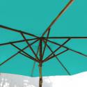 Parasol Lacanau Bleu Turquoise 300 cm Bois : système d'ouverture vue de dessous