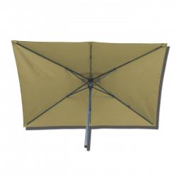 Parasol Lacanau rectangulaire : rectangle 200 x 300 cm Aluminium avec toile couleur Sable Greige : Parasol vu de dessous
