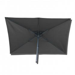 Parasol Lacanau rectangulaire : rectangle 200 x 300 cm Aluminium avec toile couleur Gris Souris : parasol vu de dessous