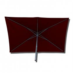 Parasol Lacanau rectangulaire : rectangle 200 x 300 cm Aluminium avec toile couleur Rouge Bordeaux : parasol vu de dessous