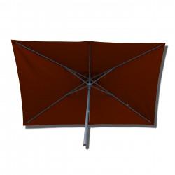 Parasol Lacanau rectangulaire : rectangle 200 x 300 cm Aluminium avec toile couleur Rouge Terracotta : parasol vu de dessous