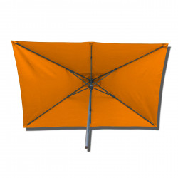 Parasol Lacanau rectangulaire : rectangle 200 x 300 cm Aluminium avec toile couleur Orange : parasol vu de dessous
