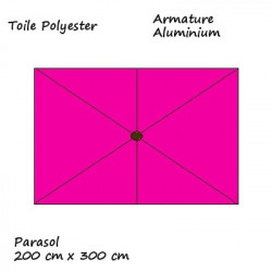 Parasol Lacanau rectangulaire : rectangle 200 x 300 cm Aluminium avec toile couleur Rose Fushia : descriptif