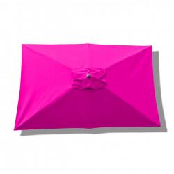 Parasol Lacanau rectangulaire : rectangle 200 x 300 cm Aluminium avec toile couleur Rose Fushia : parasol vu de dessus