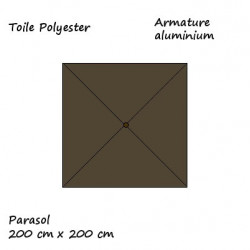 Parasol Lacanau Taupe 200 x 200 cm Alu : descriptif