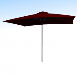 Parasol Lacanau Rouge Bordeaux 200 x 300 cm Alu : vu de face