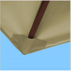 Toile polyester pour parasol carré 2x2 Soie Grège : coté bas de la baleine