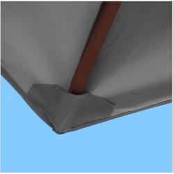 Toile polyester pour parasol carré 2x2 Gris Souris : coté bas de la baleine