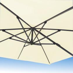 Parasol Biscarrosse Alu déporté 3x3 Ecru : vu de dessous