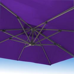 Parasol Biscarrosse Alu déporté 3x3 Violet Cassis Lilas : vu de dessous