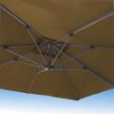 Parasol Biscarrosse Alu déporté 3x3 Taupe : vu de dessous