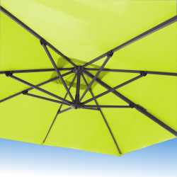 Parasol Biscarrosse Alu déporté 3x3 Vert Anis : vu de dessous