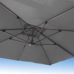 Parasol Biscarrosse Alu déporté 3x3 Gris Souris : vu de dessous