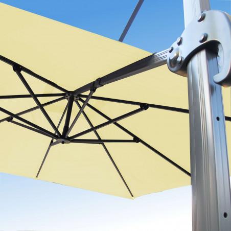 Parasol Biscarrosse Alu déporté 3x3 Ecru : vu de la commande a l'arrière