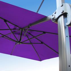 Parasol Biscarrosse Alu déporté 3x3 Violet Cassis Lilas : vu de la commande a l'arrière