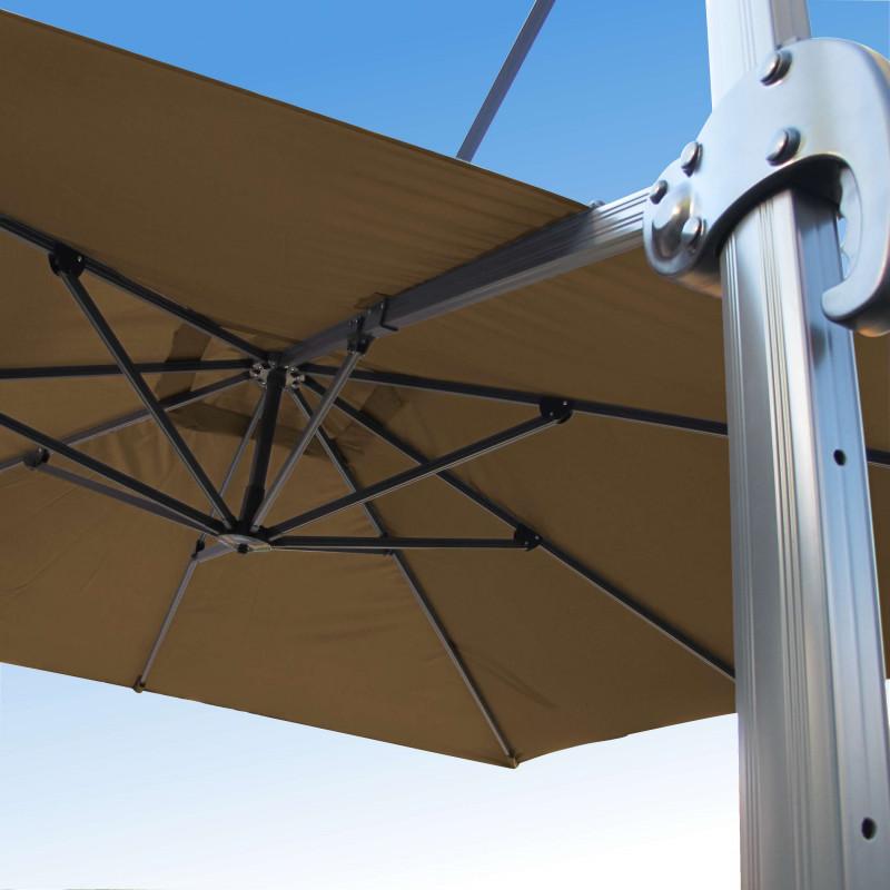 Parasol Biscarrosse Alu déporté 3x3 Taupe : vu de la commande a l'arrière