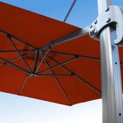 Parasol Biscarrosse Alu déporté 3x3 Terracotta : vu de la commande a l'arrière
