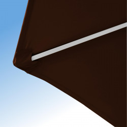 Parasol Arcachon Mocca 250 cm Alu : détail de la toile et de la qualité des coutures