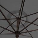 Parasol Lacanau Gris Souris 350 cm Bois Manivelle : détail de la manoeuvre par manivelle vu de dessous
