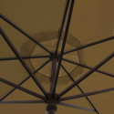 Parasol Lacanau Gris Taupe 350 cm Bois Manivelle : détail de la manoeuvre par manivelle vu de dessous