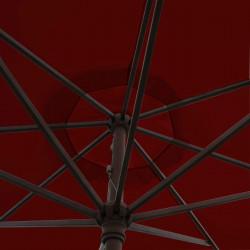 Parasol Lacanau Rouge Bordeaux 350 cm Bois Manivelle : détail de la manoeuvre par manivelle vu de dessous