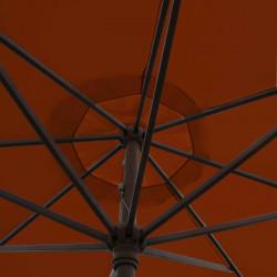 Parasol Lacanau Terracotta 350 cm Bois Manivelle : détail de la manoeuvre par manivelle vu de dessous