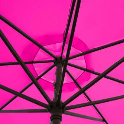 Parasol Lacanau Rose Fushia 350 cm Bois Manivelle : détail de la manoeuvre par manivelle vu de dessous