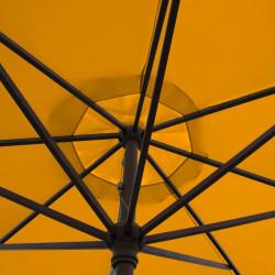 Parasol Lacanau Orange 350 cm Bois Manivelle : détail de la manoeuvre par manivelle vu de dessous