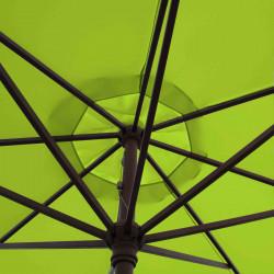 Parasol Lacanau  Vert Lime 350 cm Bois Manivelle : détail de la manoeuvre par manivelle vu de dessous
