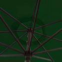 Parasol Lacanau Vert Pinède 350 cm Bois Manivelle : détail de la manoeuvre par manivelle vu de dessous