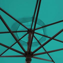 Parasol Lacanau Bleu Turquoise 350 cm Bois Manivelle : détail de la manoeuvre par manivelle vu de dessous
