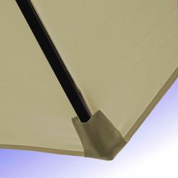 Parasol Lacanau Soie Grege 350 cm Bois Manivelle : Détail de la toile et du fourreau en bout de baleine