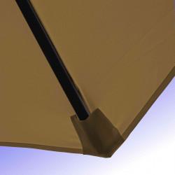Parasol Lacanau Gris Taupe 350 cm Bois Manivelle : Détail de la toile et du fourreau en bout de baleine