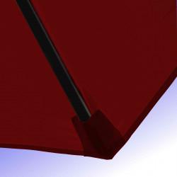 Parasol Lacanau Rouge Bordeaux 350 cm Bois Manivelle : Détail de la toile et du fourreau en bout de baleine