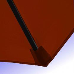 Parasol Lacanau Terracotta 350 cm Bois Manivelle : Détail de la toile et du fourreau en bout de baleine