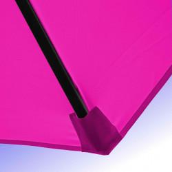 Parasol Lacanau Rose Fushia 350 cm Bois Manivelle : Détail de la toile et du fourreau en bout de baleine