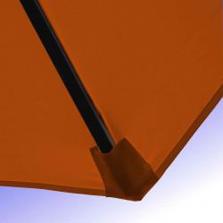 Parasol Lacanau Orange 350 cm Bois Manivelle : Détail de la toile et du fourreau en bout de baleine