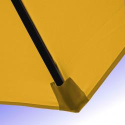 Parasol Lacanau Jaune d'Or 350 cm Bois Manivelle : Détail de la toile et du fourreau en bout de baleine