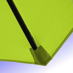 Parasol Lacanau  Vert Lime 350 cm Bois Manivelle : Détail de la toile et du fourreau en bout de baleine