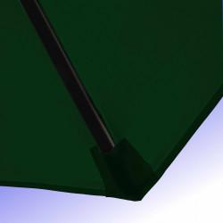 Parasol Lacanau Vert Pinède 350 cm Bois Manivelle : Détail de la toile et du fourreau en bout de baleine