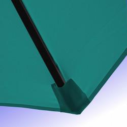 Parasol Lacanau Bleu Turquoise 350 cm Bois Manivelle : Détail de la toile et du fourreau en bout de baleine